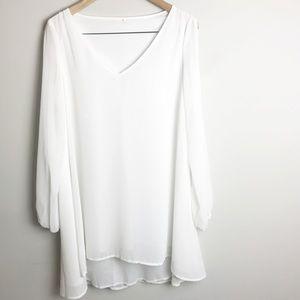 White Sheer Split Open Sleeve Boho Dress  Sz. M